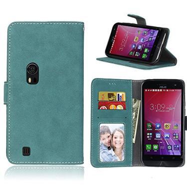 Capa para Asus ZenFone Zoom ZX550ML ZX551ML 5.5inch proteção de couro PU com 3 compartimentos para cartões capa flip (Azul)