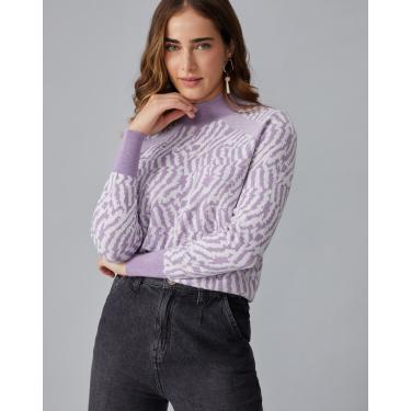 suéter leve zebrado gola Feminino AMARO LILÁS GG