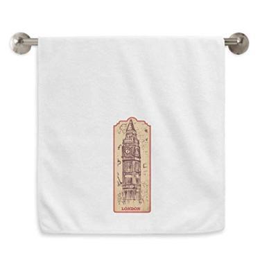 Imagem de DIYthinker Toalha de mão Big Ben England Landmark Flag Mark Pattern Toalha de banho de algodão macio