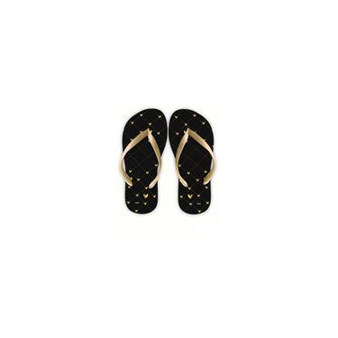 Imagem de Chinelo preto e dourado listra e poá Fashionista