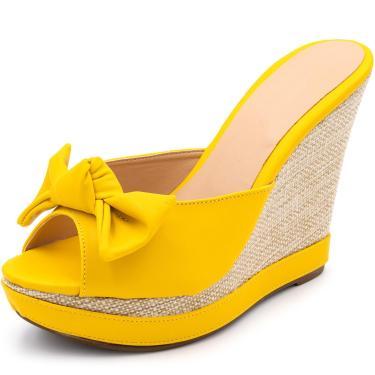 Sandália Tamanco Anabela Salto Alto Gisela Costa Amarelo  feminino