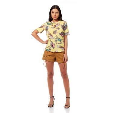 Camiseta Estampada Conchas, Colcci, Feminino, Amarelo/Marrom/Bege/Verde/Vermelho/Salmao/Laranja/Azul/Roxo, P
