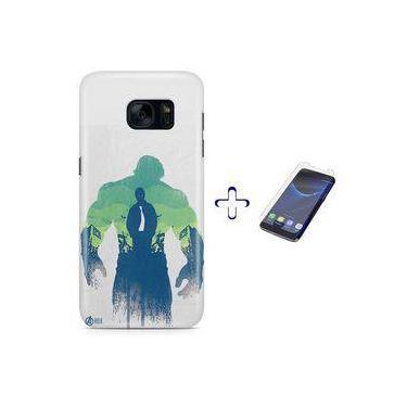 Kit Capa Case TPU Galaxy S7 Avengers Hulk Vingadores Bruce Banner + Pel Vidro (BD30)