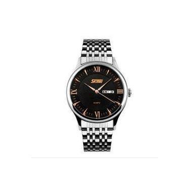 c979e737104 Relógio Masculino Skmei Analógico 9091 Pr-Pt