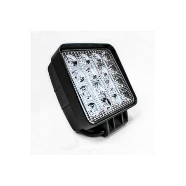 Farol de Milha LED Quadrado 48w Branco Frio 12v/ 24v 16 LEDs Jeep Caminhão Off-Road