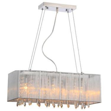 Imagem de Pendente Rammer 50Cm Retangular E-27 3 Lamp. Max 60W Prata - Home Line