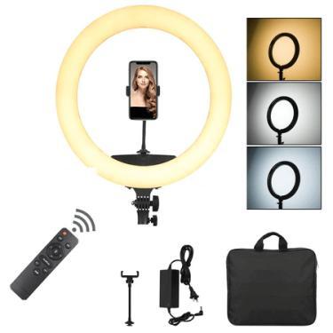 """Iluminador Circular Led Ring Light 18"""" / 46cm 65W USB com Fonte, Suporte SmartPhone, Controle Remoto e Bolsa"""