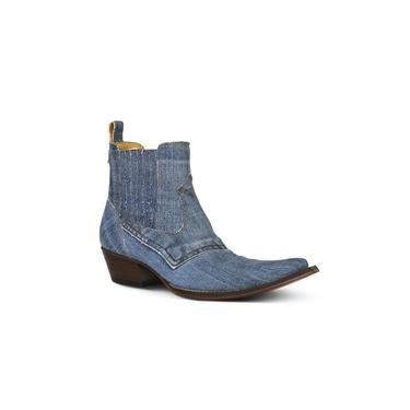 Botina Masculina Tecido Jeans Azul - Silverado Botas