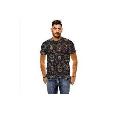 Camiseta Caveira Floral Garden Masculina Slim 0d985ffa4a7