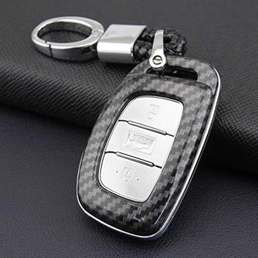 Capa de chave de carro de fibra de carbono ABS para Hyundai Sonata Tucson Elantra (concha com chaveiro)