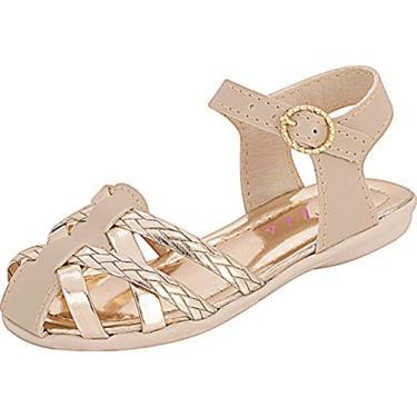 Sandália Plis Calçados Charminho Marfim Dourada