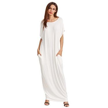 Verdusa Vestido longo solto de manga curta com bolsos, #1 creme branco, S