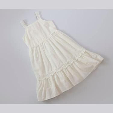 Vestido Infantil com Laise em Off White Pedras na Alça Cor:Creme;Tamanho:2
