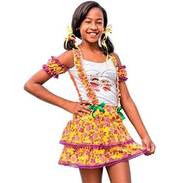 Imagem de Vestido de Festa Junina Caipira Caipirinha Infantil Com Suspensório P 3-4