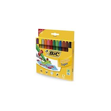 Caneta hidrográfica 12 cores super 904084 Bic