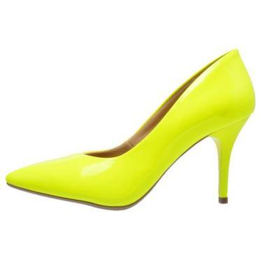 Scarpin Bico Fino Ellas Online Neon Amarelo.  feminino