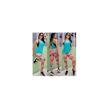 Imagem de Kit 6 Calça Legging Estampada Coz Alto Roupas Academia ou Dia-dia Moda Fitness