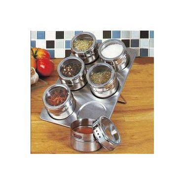 Imagem de Porta Temperos Condimentos Art House Inox Fundo Magnetico 6 Potes + Base