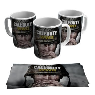 Caneca Call of Duty WWII Jogo Ps4 Xbox Vídeo Game Gamer Geek