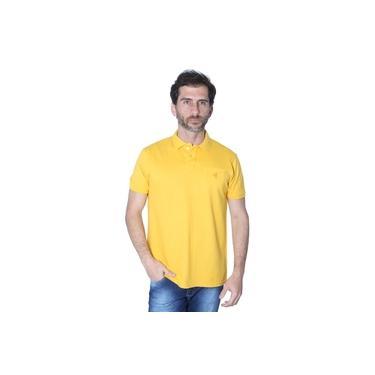 Camisa Polo Hipica Polo Club Masculino Piquet Com Bolso Mostarda