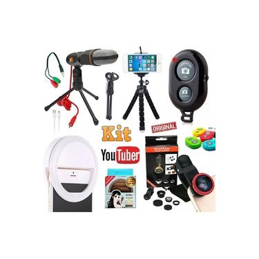 Kit Youtuber Profissional Microfone Condensador de Mesa Pc Celular Câmera + Mini Tripé Flexível Luz Flash Selfie Ring Light + Kit Lentes Universal Original Completo