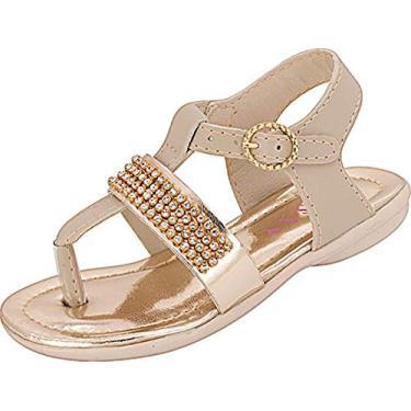 Sandália Plis Calçados Gatinha Marfim Dourada