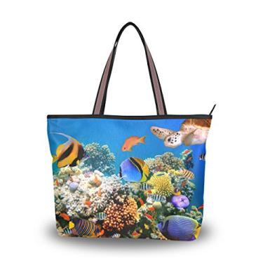 Bolsa Cooper Girl Tube Coral e Tartaruga Bolsa de Ombro Grande Capacidade, Multi, Medium