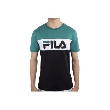 Camiseta Fila Letter Colors Verde Branco e Preta