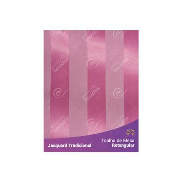 Imagem de Toalha De Mesa Retangular Em Tecido Jacquard Rosa Pink Chiclete Listrado Tradicional