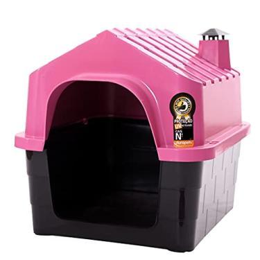 Casa Para Cachorro Casinha Cães e Gatos Plástico N°2 Com Brinde Durapets Cor:Rosa