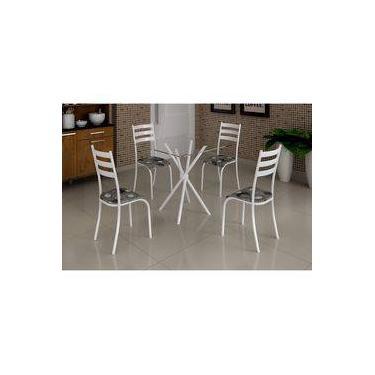 c2b4c59cb Conjunto Mesa com Tampo Vidro e 4 Cadeiras Madmelos Incolor Branco Paraopeba