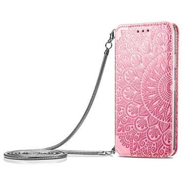 JZ [Design de bolsa flor] Capa de celular carteira protetora compatível com Samsung Galaxy A72 4G/A71 Capa flip magnética - Rosa