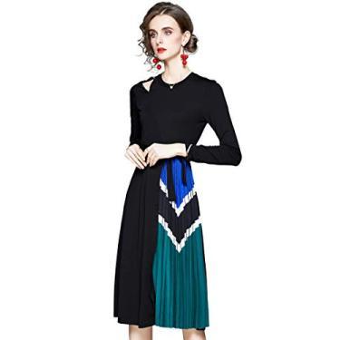 Vestido feminino LAI MENG FIVE CATS com gola em V/gola V para trabalho e traje médio, Black13649, 10