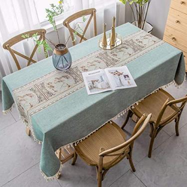 Imagem de Jun Jiale Toalha de mesa rústica de malha (139 x 220 cm) Toalha de mesa retangular de linho de algodão para jantar na cozinha, festa, férias, Natal, buffet, Lin Yuan Green