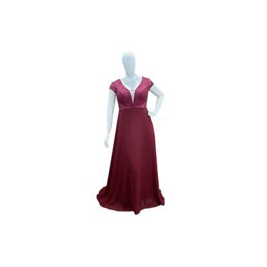 Vestido de Festa Plus Size Marsala - Madrinha Casamento