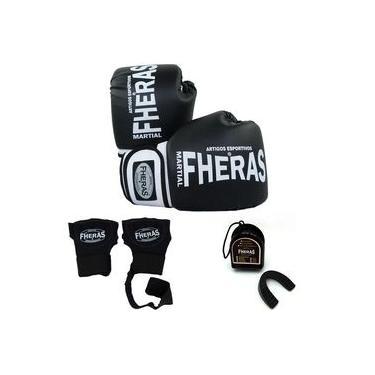 Kit Boxe Muay Thai Orion - Luva Bandagem Rápida Bucal - Preto/Branco