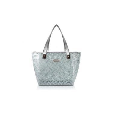 Bolsa Shopper Transparente Dourada Diamante Jacki Design