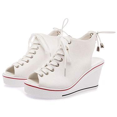 SaraIris sandália anabela para mulheres, peep toe com cadarço e tira nas costas, tênis casual de salto plataforma verão, Branco, 8