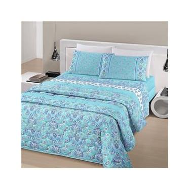 Jogo de cama casal linha Royal Plus Duplo 100% algodão estampa Jaipur na cor turquesa - Santista
