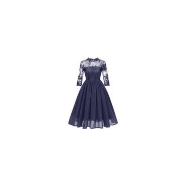 Vestido Midi Renda Bordado 3/4 Manga Casamento Festa Cor Azul Tamanho gg