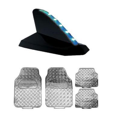 Antena Shark Preta Led Decorativa Tapete Crom Pathfinder