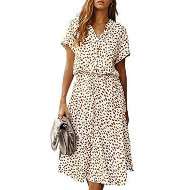 Imagem de maiduoduo01 Vestido floral para mulheres, vestido feminino de manga curta, estampado, 4 cores, gola alta, branco, P