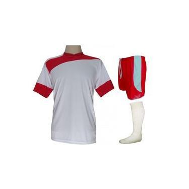 Imagem de Uniforme Esportivo Completo modelo Sporting 14+1 (14 camisas Branco/Vermelho + 14 calções modelo Cop