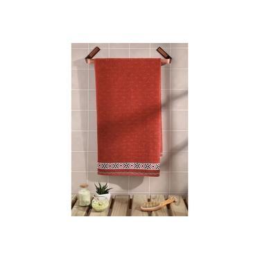 Imagem de Toalha de Rosto Felpuda Algodão Jacquard Premium Dohler Liso Vermelha