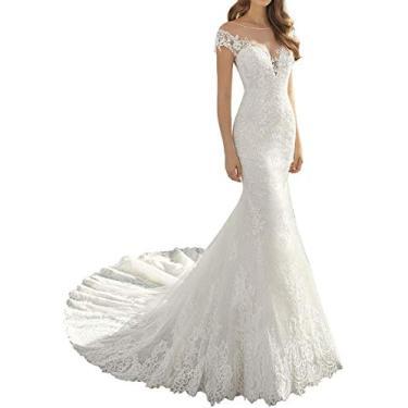 Imagem de Solandia Vestido de noiva feminino plus size renda praia sereia vestidos de casamento para noiva com cauda de igreja, Branco, 26 Plus