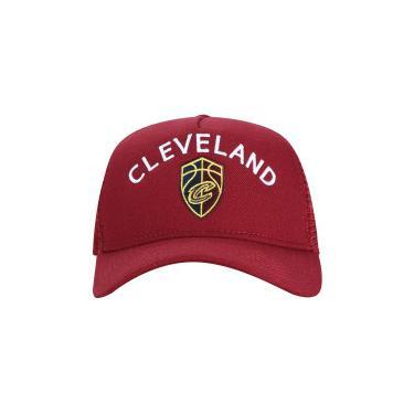 Boné Aba Curva New Era 940 Cleveland Cavaliers - Snapback - Trucker -  Adulto - VINHO New Era 2174529af9b