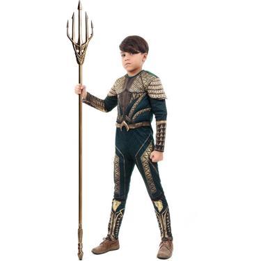 Imagem de Fantasia Aquaman Infantil Luxo Com Músculos Liga da Justiça Sulamericana