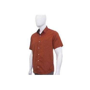 Camisa Social Masculina Manga Curta Laranja Quadriculada Xadrez Bom Pano da1c53e33c55b