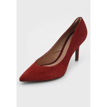 Scarpin Couro Dumond Camurça Vermelho Dumond 4114409 feminino