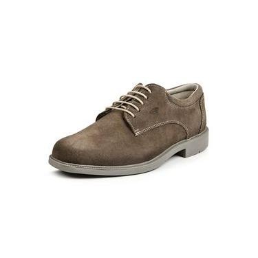 Sapato Masculino Calprado Casual Cadarço Em Couro Camurça